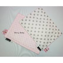Tag PIllow for Babies: Rose Minky+Gray Stars 30x40 cm