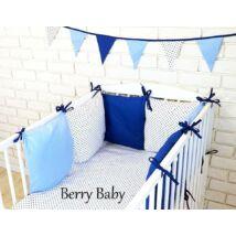LUXURY Bedding Set: Blue-White+ Black Dots