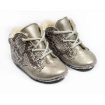 Baby Leather Shoes: Silver Snakeskin-Like- Size 19 (with shoelaces)