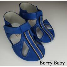 Baby Leather Shoes: Blue with Stripes Size 17
