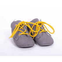 Baby Leather Shoes: Gray (with yellow shoelace) Size 18