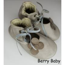 Baby Leather Shoes: Cream Flowers Size 18