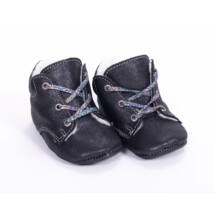 Baby Leather Shoes: Sparkly Black (with sparkly violet shoelace) Size 18