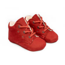 Baby Nubuck Leather Shoes: Red+ Rhinestone (with shoelace) Size 18