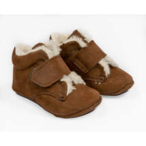 Baby Nubuck Leather Shoes:Teddy Brown with velcro Size 19