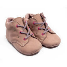 Baby Nubuck Leather Shoes: Powderpink (with lilac shoelace) Size 18