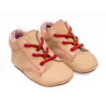 Baby Nubuck Leather Shoes: Powderpink (with red shoelace) Size 18