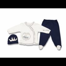 3 Parts elegant set for little boys- Size: 68- Blue Crown