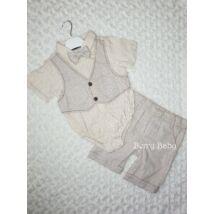 2 Parts Elegant Little Boy Set with Shorts and Bodysuit Size:68 Beige Vest