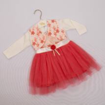 Little girl dress for events: for 6-9 months old babies- 2 parts set Coral