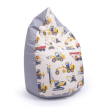 Drop-Shaped Bean Bag- Gray ECO Leather- Trucks