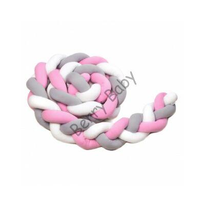 """U"" BRAIDED BUMPERS (210 CM): Raspberry-White-Gray"