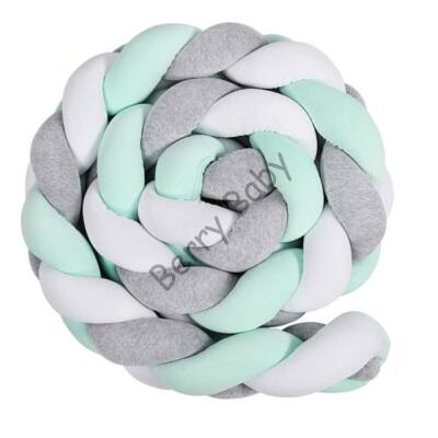 BRAIDED Bumper 360 cm (for 60x120 cm baby bed) : Gray-Mint-White