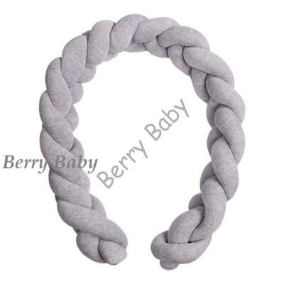 BRAIDED Bumper 360 cm (for 60x120 cm baby bed) : Gray