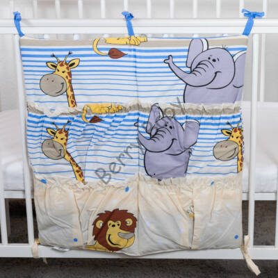 4 Pockets Diaper Storage:  Blue Safari