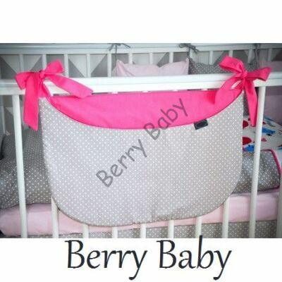 SMILE Diaper Storage: Pink-Gray Dots