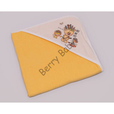 Terry Hooded Towel 75 x 75 cm: Wild and Free (Yellow)
