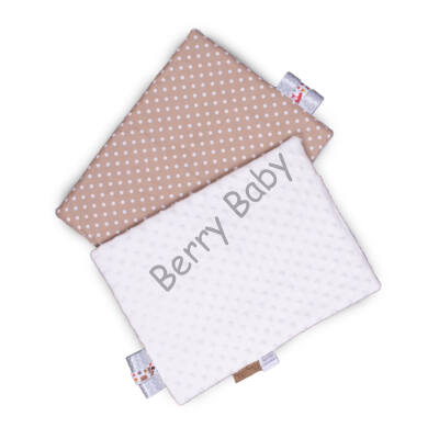 Tag PIllow for Babies: Cream Minky+Brown Dots  30x40 cm