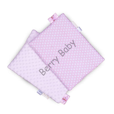 Tag PIllow for Babies: Rose Minky+Rose Dots  30x40 cm