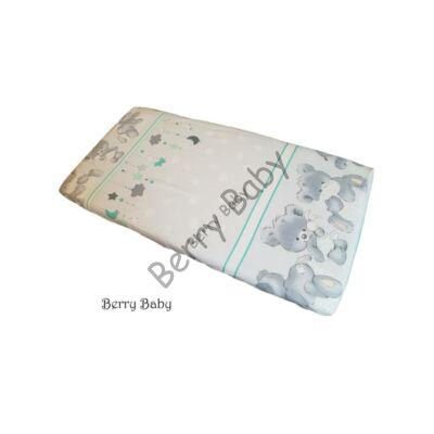 BASIC Cotton Sheet 60x120 cm: Big Mint Bear