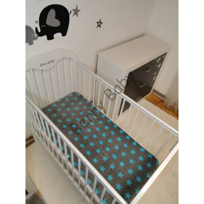 Feather Bed for 70x140 cm Baby Bed: Turquoise-Gray Stars