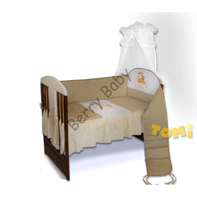 PREMIUM TOMI Embroidered Bedding Set: Beige Bunny Dots