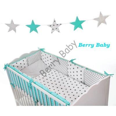LUXURY Bedding Set: Turquise-White+ Blue Stars- Black Dots