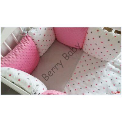 LUXURY Bedding Set: Rose Raspberry Minky+ Gray-Pink Stars