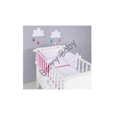 STARS and DOTS Bedding Set: Pink+ Gray Stars