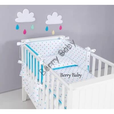 STARS and DOTS Bedding Set: Turquoise and Gray Stars