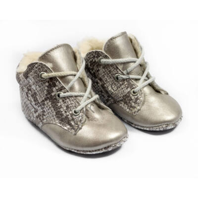 Baby Leather Shoes: Silver Snakeskin-Like- Size 18 (with shoelaces)