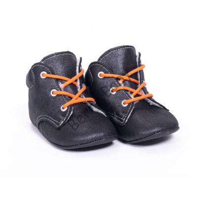 Baby Nubuck Leather Shoes: Black (with  Orange shoelace) Size 19