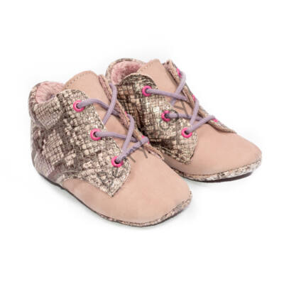 Baby Leather Shoes: Purple Snakeskin-like  (with shoelace) Size 19