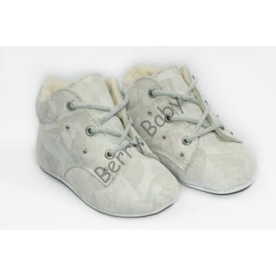 Baby Leather Shoes: White with Patterns (with shoelace) Size 18