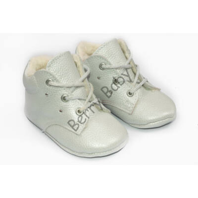 Baby Leather Shoes: Pearl with Rhinestone (with shoelace) Size 19