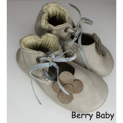 Baby Leather Shoes: Cream Flowers Size 19