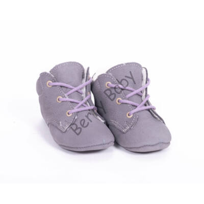 Baby Leather Shoes: Gray (with violet shoelace) Size 19