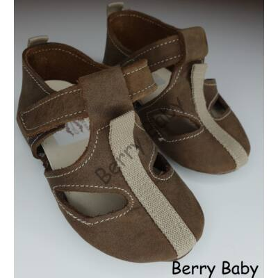 Baby Leather Shoes: Brown Size 17