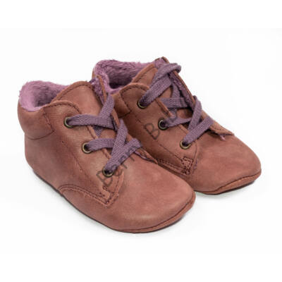 Baby Nubuck Leather Shoes: Mauve (with lilac shoelace) Size 20
