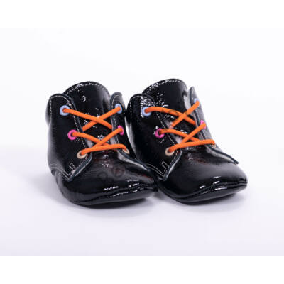 Baby Leather Shoes: Black  (with  orange shoelace) Size 19