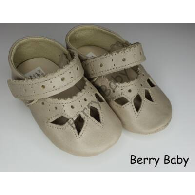 Baby Leather Shoes: Cream Lacy Size 17