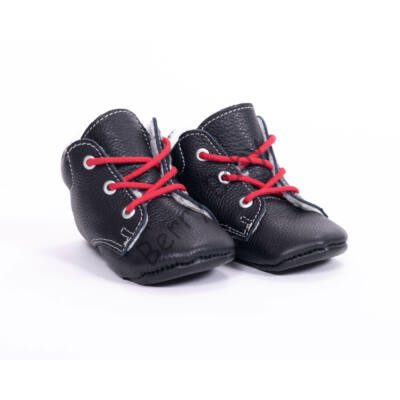 Baby Leather Shoes: Black (with red shoelace) Size 18
