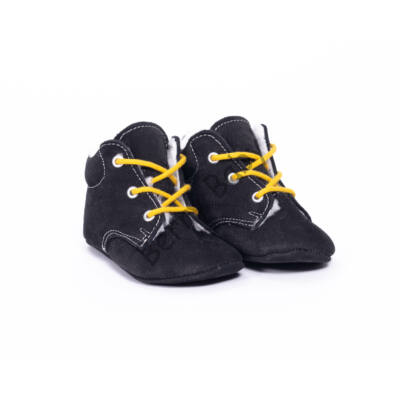 Baby Nubuck Leather Shoes: Black (with yellow shoelace) Size 19