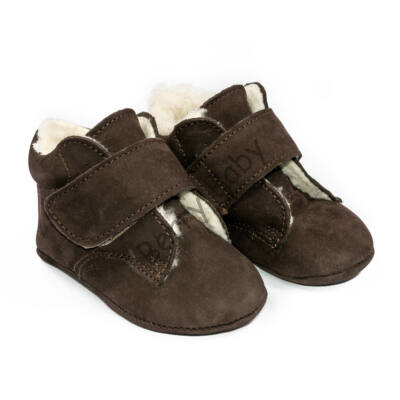 Baby Nubuck Leather Shoes:Dark Brown with velcro Size 19