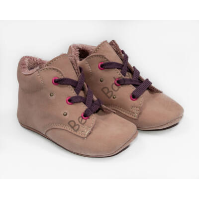 Baby Nubuck Leather Shoes: Powderpink (with purple shoelace) Size 19