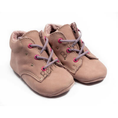 Baby Nubuck Leather Shoes: Powderpink (with lilac shoelace) Size 19