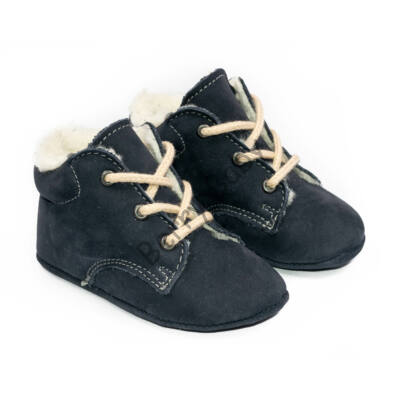 Baby Nubuck Leather Shoes: Dark Blue (with shoelace) Size 18