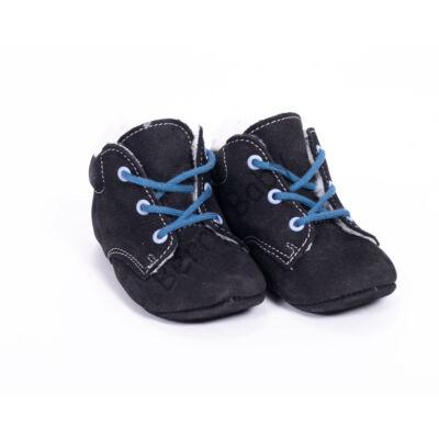 Baby Nubuck Leather Shoes: Black  (with darkblue  shoelace) Size 18