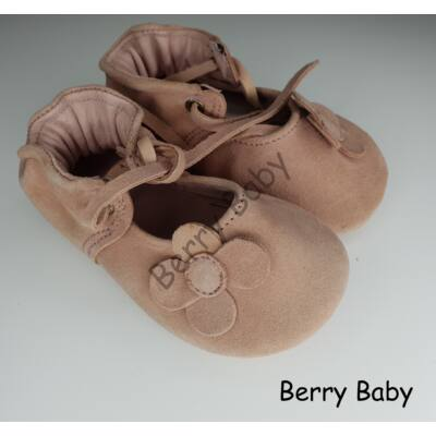 Baby Leather Shoes: Powder Pink Flower  Size 18