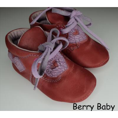 Baby Leather Shoes: Red with Heart Pattern Size 19
